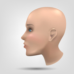 The head of a human or an anthropoid robot. Dummy. Concept: 3d modeling, humanoid robots, beautiful face.