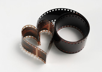 Heart shaped photo film, concept of passion for photography