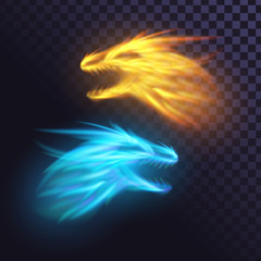Two fire dragons on a transparent background, yellow and blue flame, glowing heads of monsters