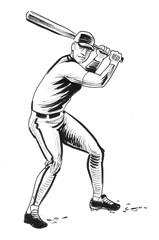 Baseball player. Ink black and white illustration
