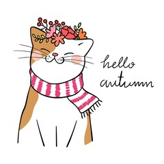 Draw cute cat with beauty wreath flower on head for autumn