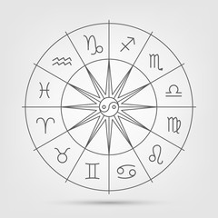 A wheel with twelve signs of the zodiac in space, astrology, esotericism, prediction of the future.