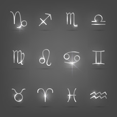 Set of silver zodiac signs