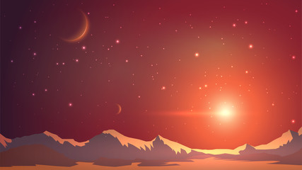 Fantastic mountain landscape, another planet, mars