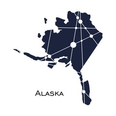 Image relative to USA travel. Alaska state map textured by lines and dots pattern