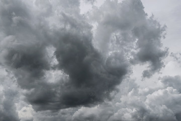 Dark storm clouds before rain used for climate background. Clouds become dark gray before raining.