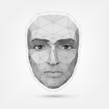 Human face, polygonal mesh, technology. Robot