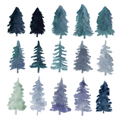 Fir-trees silhouettes isolated