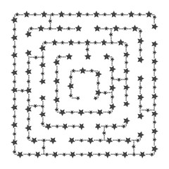 Simple square maze - starry sky. Game for kids. Puzzle for children. One entrance, one exit. Labyrinth conundrum. Flat vector illustration isolated on white background. With place for your image.