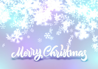Christmas snowflakes background with falling snow and lettering or calligraphic greeting text
