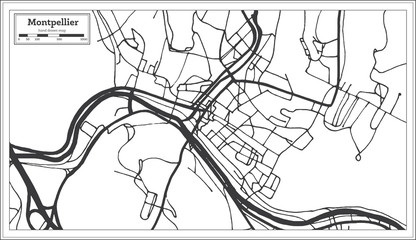 Montpelier Vermont USA City Map in Retro Style. Outline Map.
