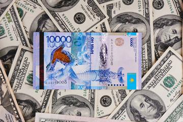 Tenge. Kazakh money and dollars. Background of the money.