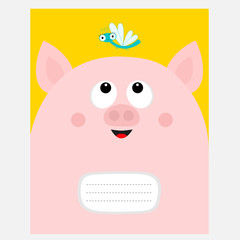 Notebook cover Composition book template. Pink pig piiggy piglet head looking at dragonfly insect. Cute cartoon baby character. Pet baby collection. Flat design. Yellow background.