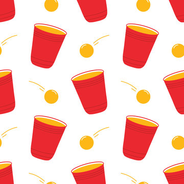 Beer pong, red plastic cups and balls vector seamless pattern background.