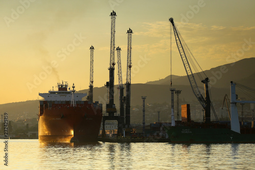 everyday port life ship repair yard vessels stock photo and