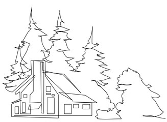 continuous line drawing of house,  residential building concept, logo, symbol, construction