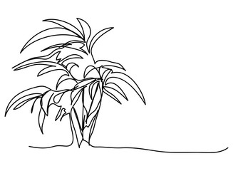 continuous one line drawing of nature tree