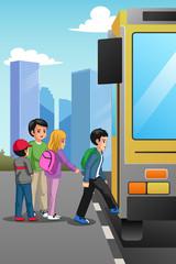 School Children at School Bus Stop Illustration