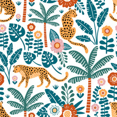 Hand drawn vector seamless pattern with leopards, palm trees and exotic plants on white background.  Perfect for fabric, wallpaper or wrapping paper.