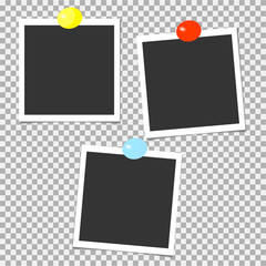 Collection of photo frames with color pins. Template. Vector illustration