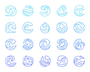 Water wave simple color line icons vector set