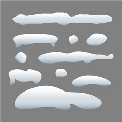 Set of snow cap on gray background. Snow collection. Ice cap. Snow hill. Vector illustration