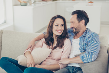 Portrait of her his trendy stylish cheerful spouses sitting on c