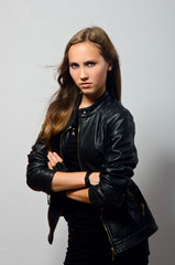 beautiful girl in leather jacket