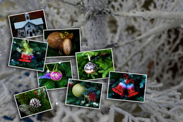 Winter photo collage on a light background. New Year Christmas holidays. With copy space.