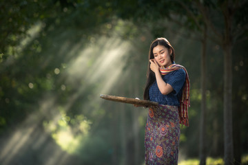 Alone asian girl country of thailand