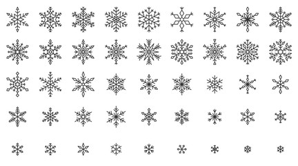 Snowflake simple black line icons snow vector set