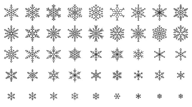 Snowflake simple black line icons snow vector set