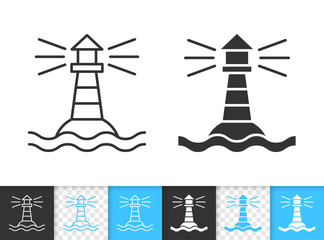 Marine lighthouse simple black line vector icon