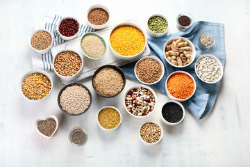 Various grain, cereals, seeds, beans