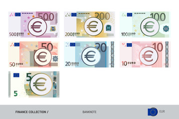 Euro Banknotes set. Flat style highly detailed vector illustration. Isolated on white background. Suitable for print materials, web design, mobile app and infographics.