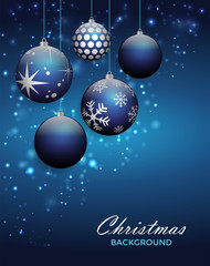 Christmas background with balls and snowflakes on blue background