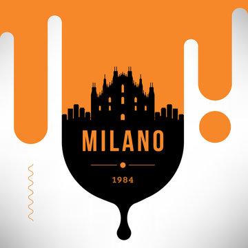 Milano Modern Web Banner Design with Vector Linear Skyline