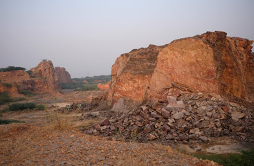 A view of a disused sandstone quarry is pictured near the village of Sirohi