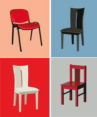 Four different design chairs on color background. Vector illustration.