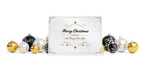 Christmas card greetings laying on golden baubles isolated 3D rendering