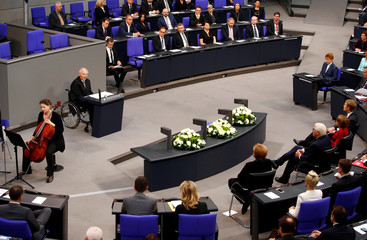 German Minister of Finance Wolfgang Schauble speaks before German President Frank-Walter Steinmeier's commemorative speech at Berlin's Reichstag to mark the 100th anniversary of the Weimarer Republic, in Berlin