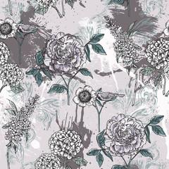 Motif floral éclectique sans couture avec peinture en aérosol.