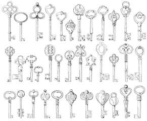 set, collection, sketch, vintage keys