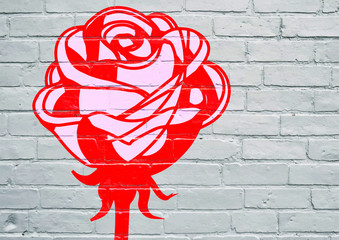 Street art. Une rose rouge