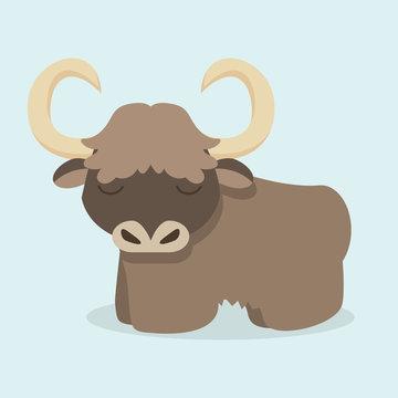 Cute yak cartoon vector
