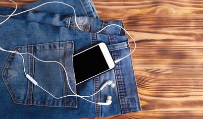 Pants smartphone and headphones