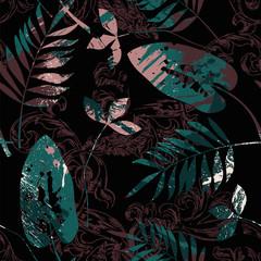 Modèle sans couture éclectique avec peinture en aérosol, ornement baroque et feuilles.