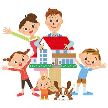 家を持つ家族