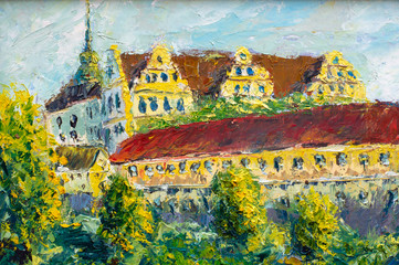 German castle Oil Painting - Old big castle with red roofs and towers