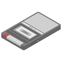 Vector isometric cassette tape recorder retro musical equipment